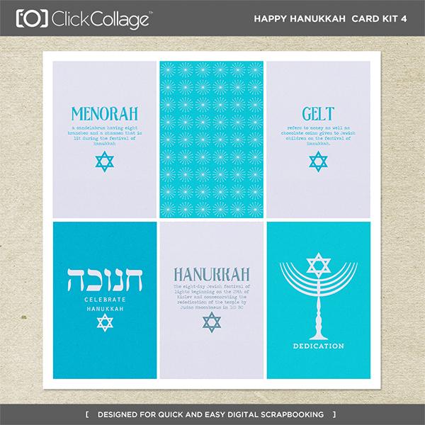 Happy Hanukkah Card Kit 4 Digital Art - Digital Scrapbooking Kits