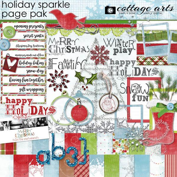 Holiday Sparkle Page Pak Digital Art - Digital Scrapbooking Kits