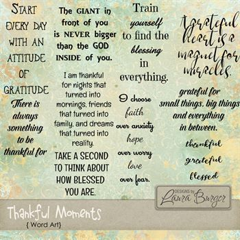Thankful Moments Word Art Digital Art - Digital Scrapbooking Kits
