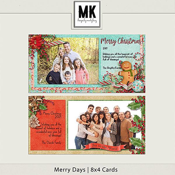 Merry Days - 8x4 Christmas Cards Digital Art - Digital Scrapbooking Kits