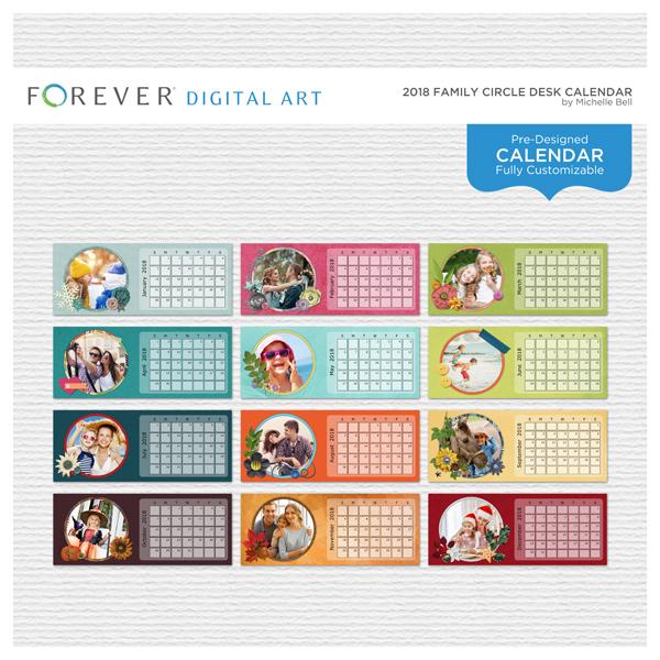2018 Family Circle Desk Calendar Digital Art - Digital Scrapbooking Kits