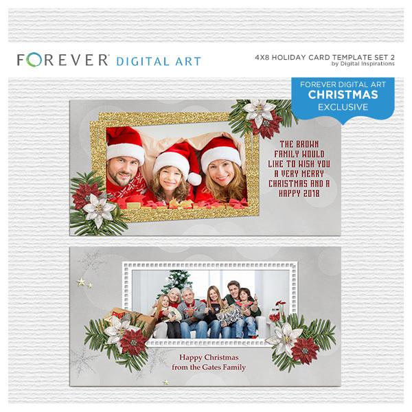 4 X 8 Holiday Card Template Set 2 Digital Art - Digital Scrapbooking Kits