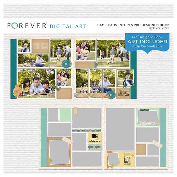 Family Adventures Pre-designed Book Digital Art - Digital Scrapbooking Kits