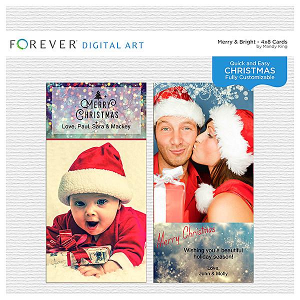 Merry & Bright 4x8 Cards Digital Art - Digital Scrapbooking Kits