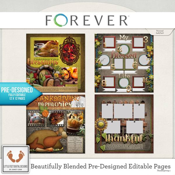 Beautifully Blended Pre-designed Editable Pages Thanksgiving 1