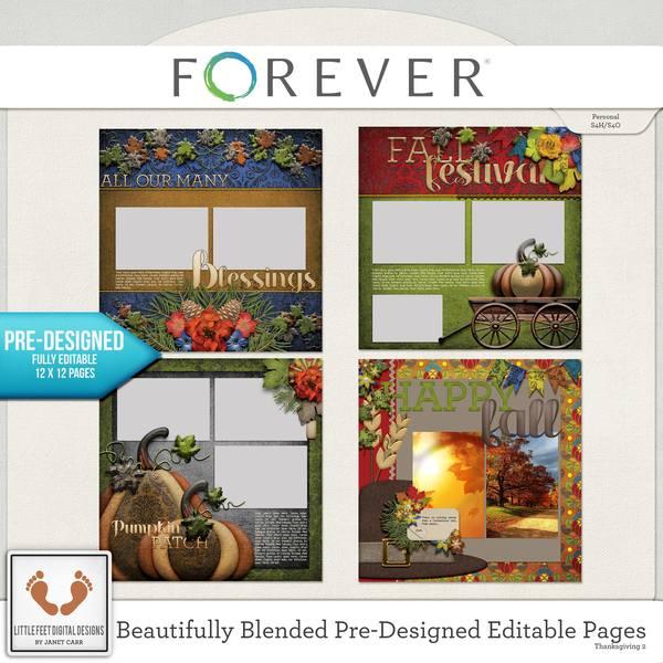 Beautifully Blended Pre-designed Editable Pages Thanksgiving 2 Digital Art - Digital Scrapbooking Kits