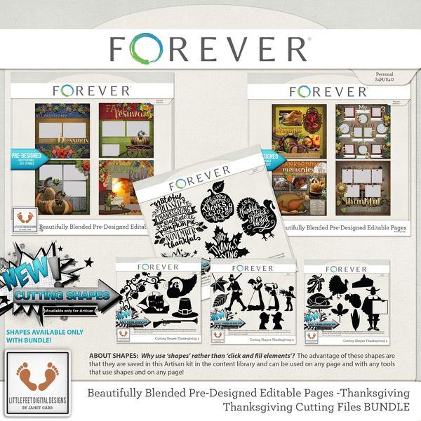 Beautifully Blended Pre-designed Editable Pages Thanksgiving Bundle Digital Art - Digital Scrapbooking Kits