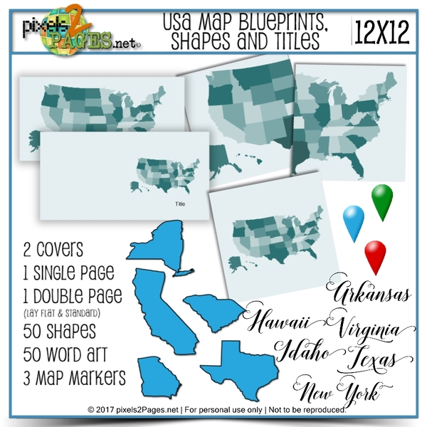 USA Map Blueprints, Shapes And Titles (12x12) Digital Art - Digital Scrapbooking Kits