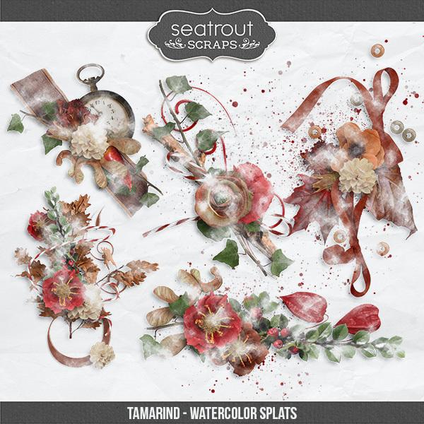 Tamarind Watercolor Splats Digital Art - Digital Scrapbooking Kits