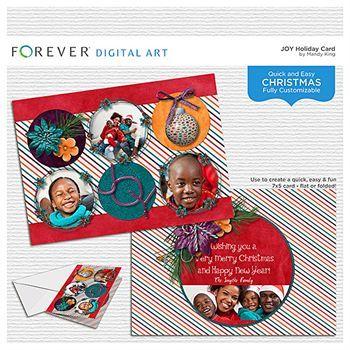 Joy 5x7 Holiday Card Digital Art - Digital Scrapbooking Kits