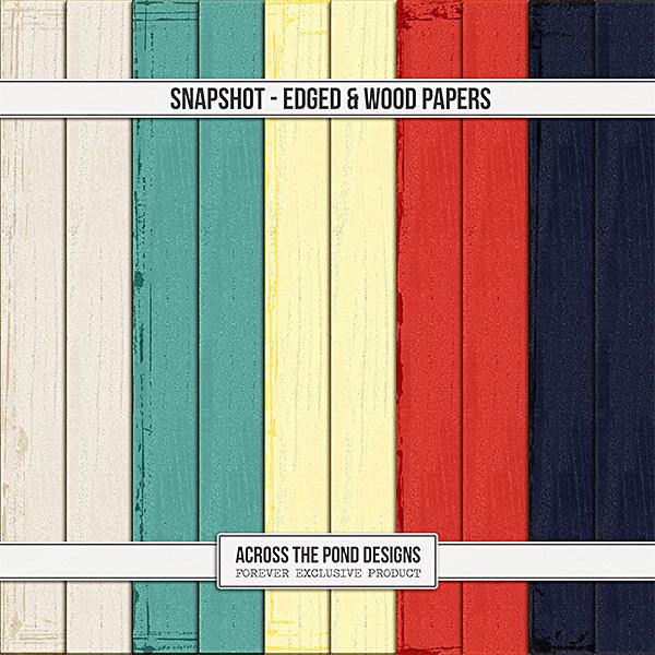 Snapshot - Edged & Wood Papers Digital Art - Digital Scrapbooking Kits