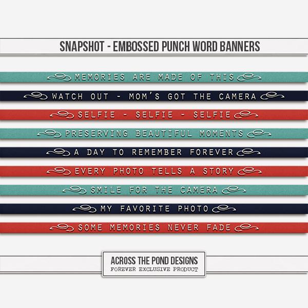 Snapshot - Embossed Punch Word Banners Digital Art - Digital Scrapbooking Kits
