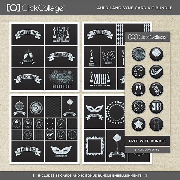 Auld Lang Syne Card Kit Bundle Digital Art - Digital Scrapbooking Kits