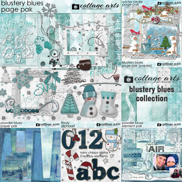 Blustery Blues Collection Digital Art - Digital Scrapbooking Kits