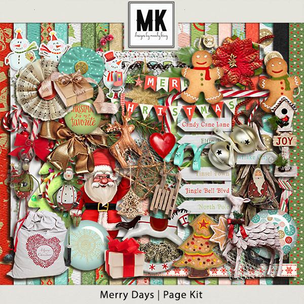 Merry Days - Page Kit Digital Art - Digital Scrapbooking Kits