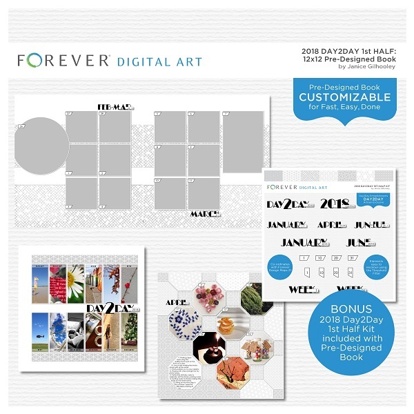 2018 Day2Day 1st Half 12x12 Pre-designed Book Digital Art - Digital Scrapbooking Kits