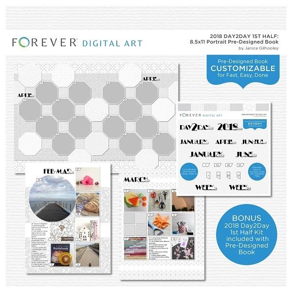 2018 Day2Day 1st Half 8.5x11 Portrait Pre-designed Book Digital Art - Digital Scrapbooking Kits
