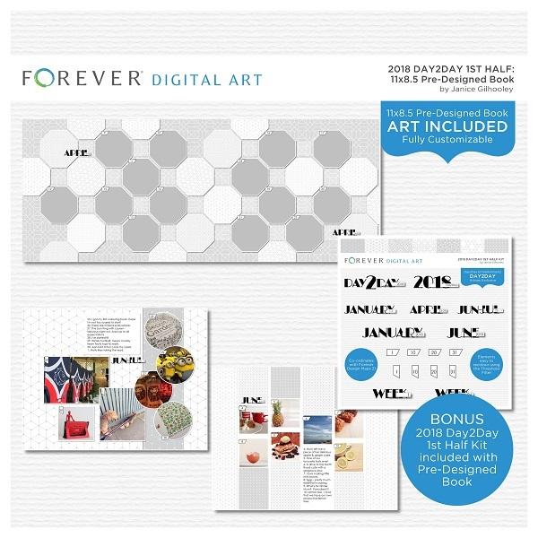 2018 Day2Day 1st Half Pre-designed Book 11x8.5 Digital Art - Digital Scrapbooking Kits