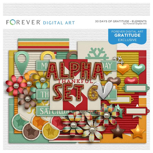 30 Days Of Gratitude Elements Digital Art - Digital Scrapbooking Kits