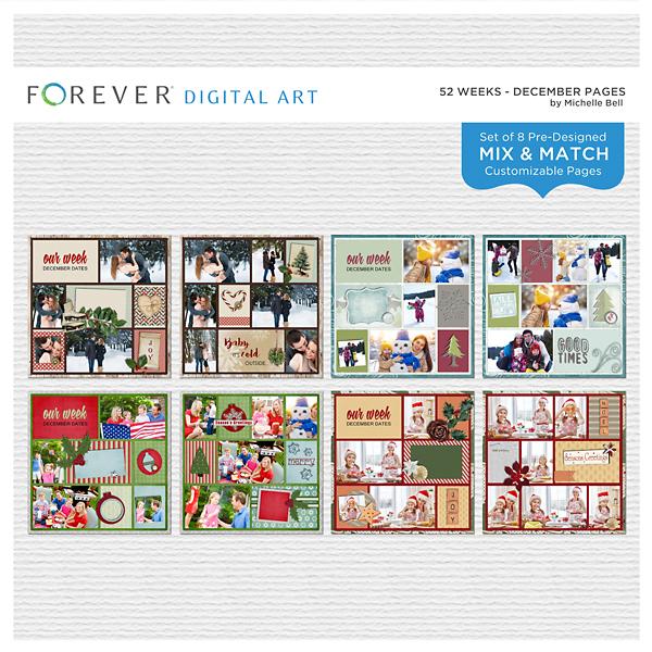 52 Weeks - December Pages Digital Art - Digital Scrapbooking Kits