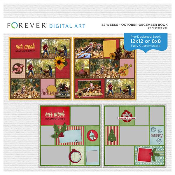 52 Weeks - October-December Book Digital Art - Digital Scrapbooking Kits
