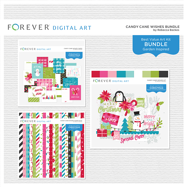 Candy Cane Wishes Bundle Digital Art - Digital Scrapbooking Kits