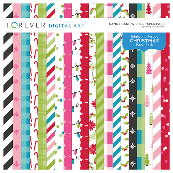 Candy Cane Wishes Paper Pack Digital Art - Digital Scrapbooking Kits