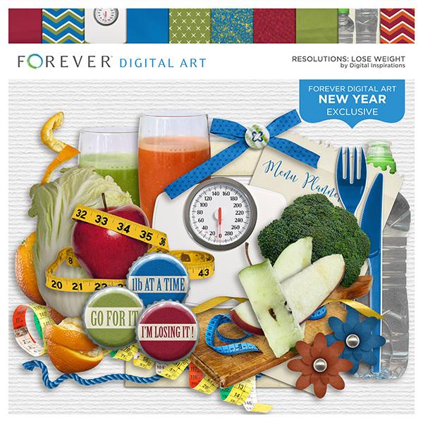 Resolutions - Lose Weight Digital Art - Digital Scrapbooking Kits