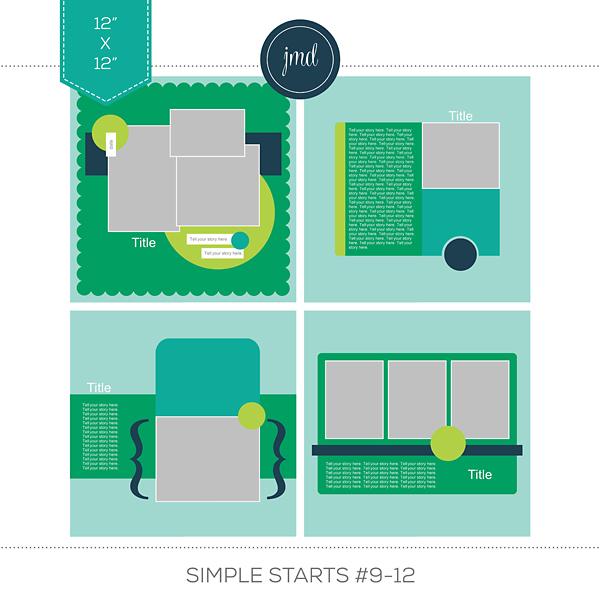 Simple Starts #9-12 (12x12) Digital Art - Digital Scrapbooking Kits