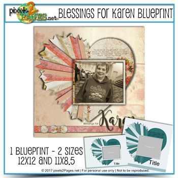 Blessings For Karen Blueprint Digital Art - Digital Scrapbooking Kits