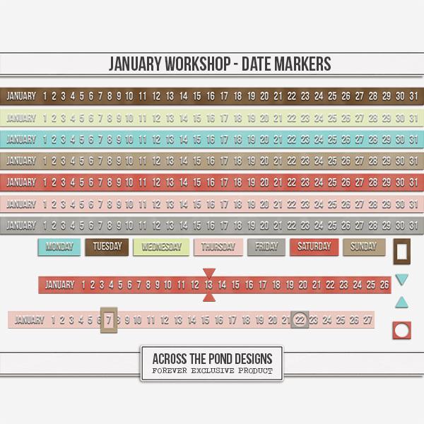 January Workshop - Date Markers Digital Art - Digital Scrapbooking Kits