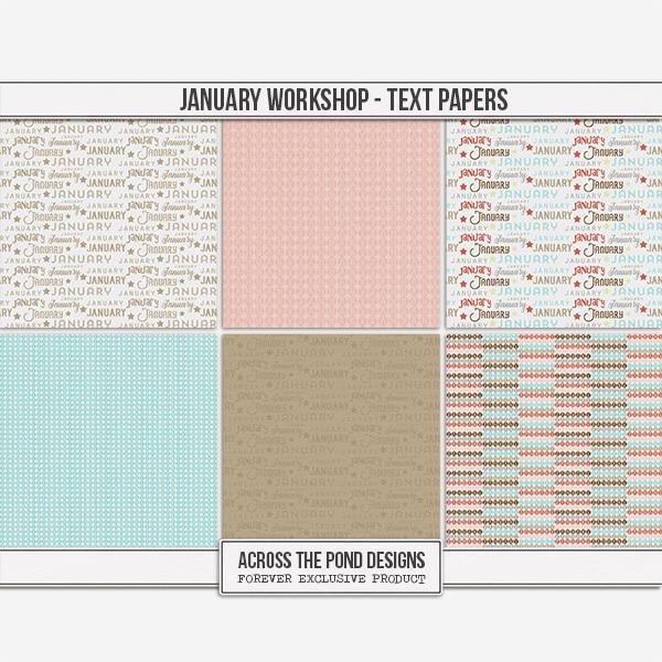 January Workshop - Text Papers Digital Art - Digital Scrapbooking Kits
