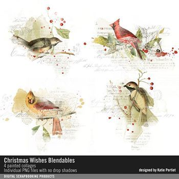 Christmas Wishes Blendables Digital Art - Digital Scrapbooking Kits