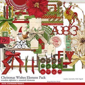 Christmas Wishes Element Pack Digital Art - Digital Scrapbooking Kits