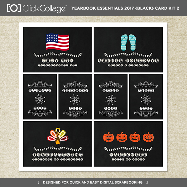 Yearbook Essentials 2017 (black) Card Kit 2 Digital Art - Digital Scrapbooking Kits