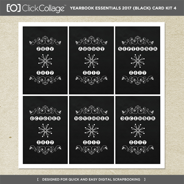 Yearbook Essentials 2017 (black) Card Kit 4 Digital Art - Digital Scrapbooking Kits
