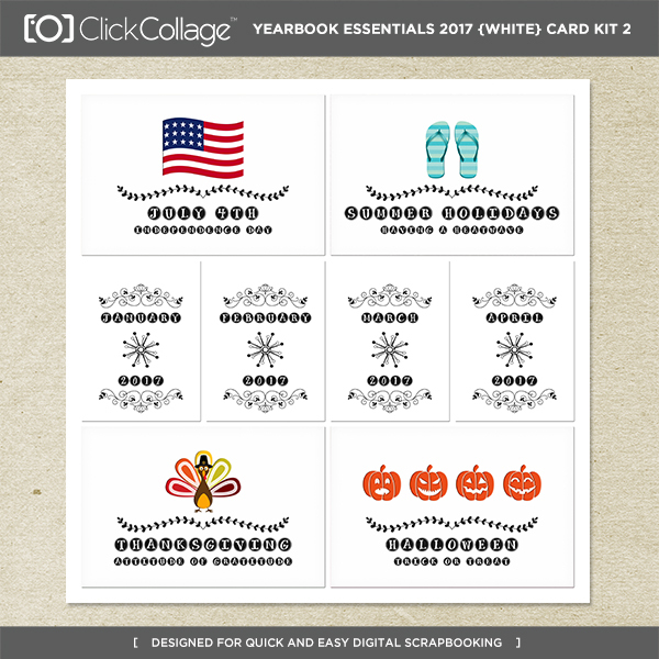 Yearbook Essentials 2017 (white) Card Kit 2 Digital Art - Digital Scrapbooking Kits