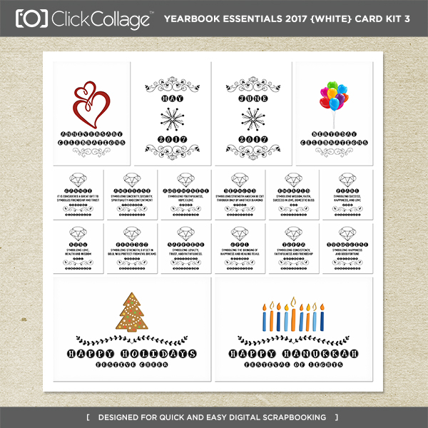 Yearbook Essentials 2017 (white) Card Kit 3 Digital Art - Digital Scrapbooking Kits