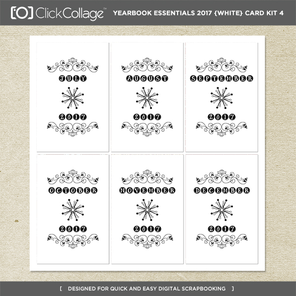 Yearbook Essentials 2017 (white) Card Kit 4 Digital Art - Digital Scrapbooking Kits