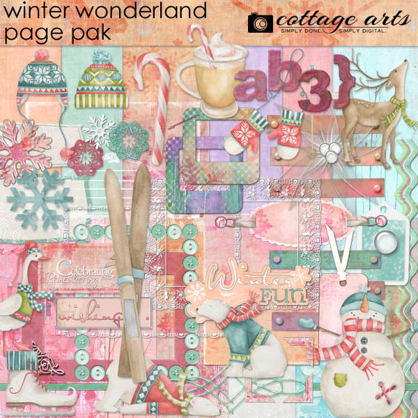 Winter Wonderland Page Pak Digital Art - Digital Scrapbooking Kits