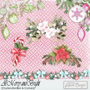 All Merry And Bright Borders And Corners Digital Art - Digital Scrapbooking Kits