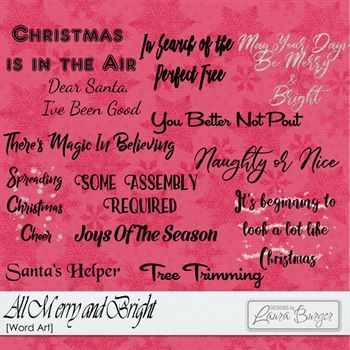 All Merry And Bright Word Arts Digital Art - Digital Scrapbooking Kits
