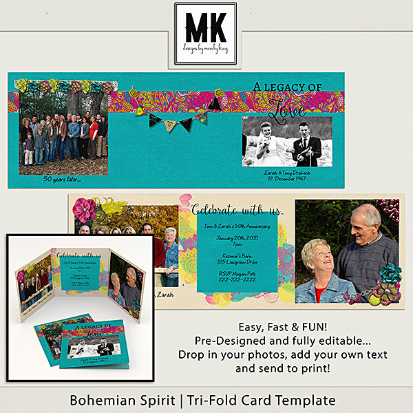 Bohemian Spirit - Tri-fold Card Digital Art - Digital Scrapbooking Kits