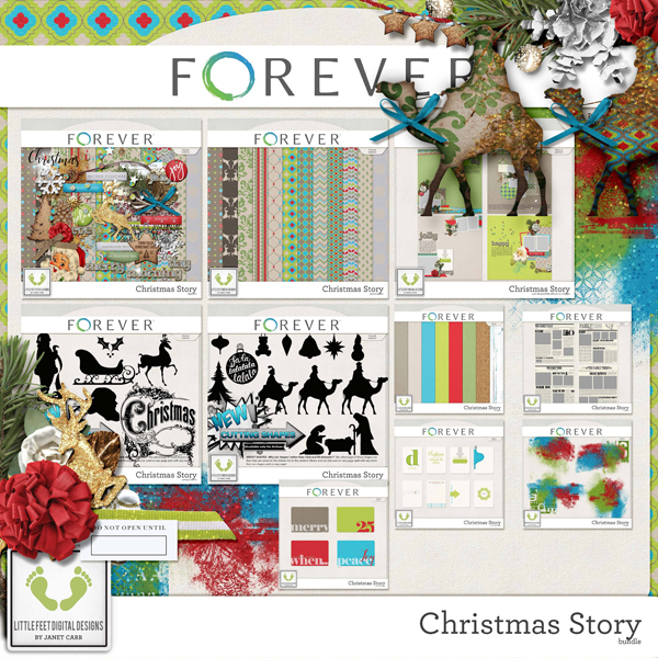 Christmas Story Bundle Digital Art - Digital Scrapbooking Kits