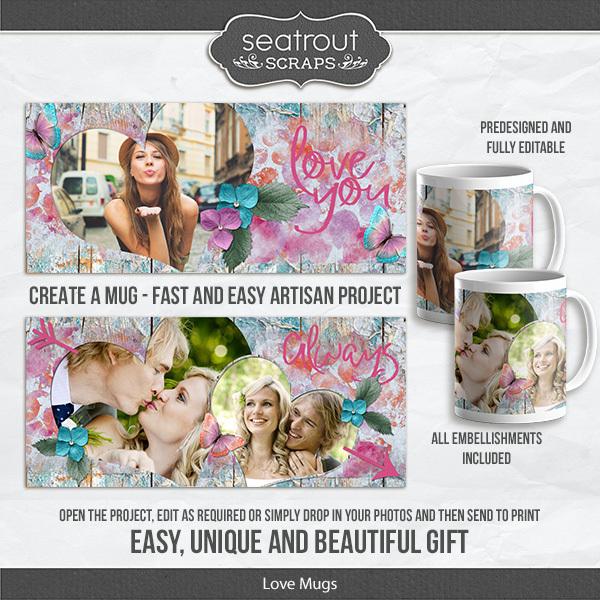 Love Mugs Digital Art - Digital Scrapbooking Kits