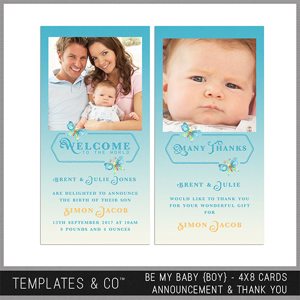 Be My Baby (boy) 4x8 Cards Announcement And Thank You Digital Art - Digital Scrapbooking Kits