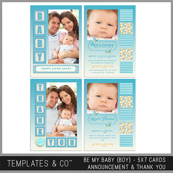 Be My Baby (boy) 5x7 Cards Announcement And Thank You Digital Art - Digital Scrapbooking Kits