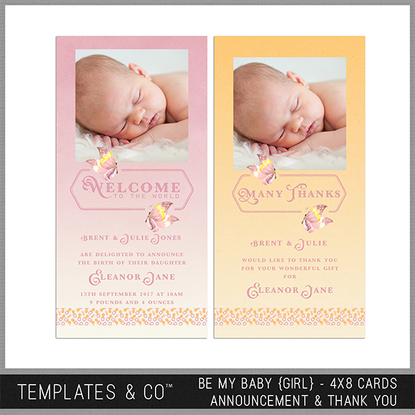 Be My Baby (girl) 4x8 Cards Announcement And Thank You Digital Art - Digital Scrapbooking Kits