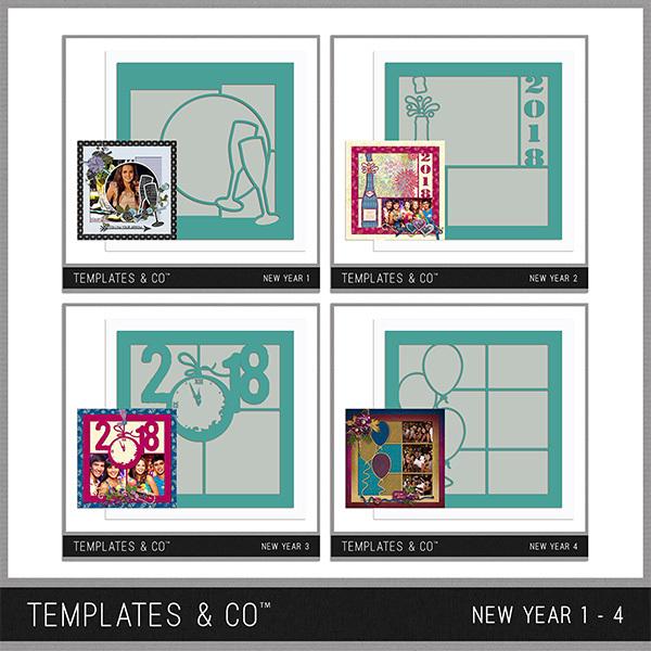 New Year 1 - 4 Digital Art - Digital Scrapbooking Kits