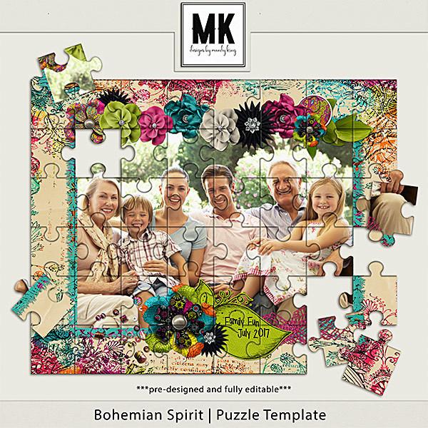 Bohemian Spirit - Puzzle Template Digital Art - Digital Scrapbooking Kits